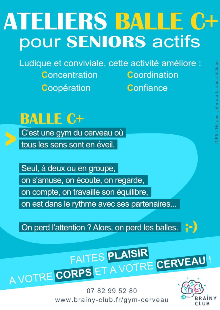 Flyer Balle C+ : mouvements gymnastique cerveau enfants adultes seniors